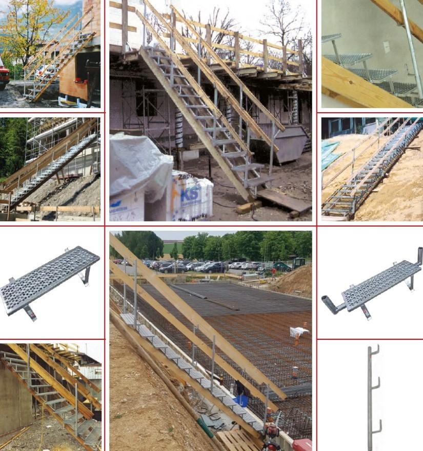 Escalier de chantier marche par marche